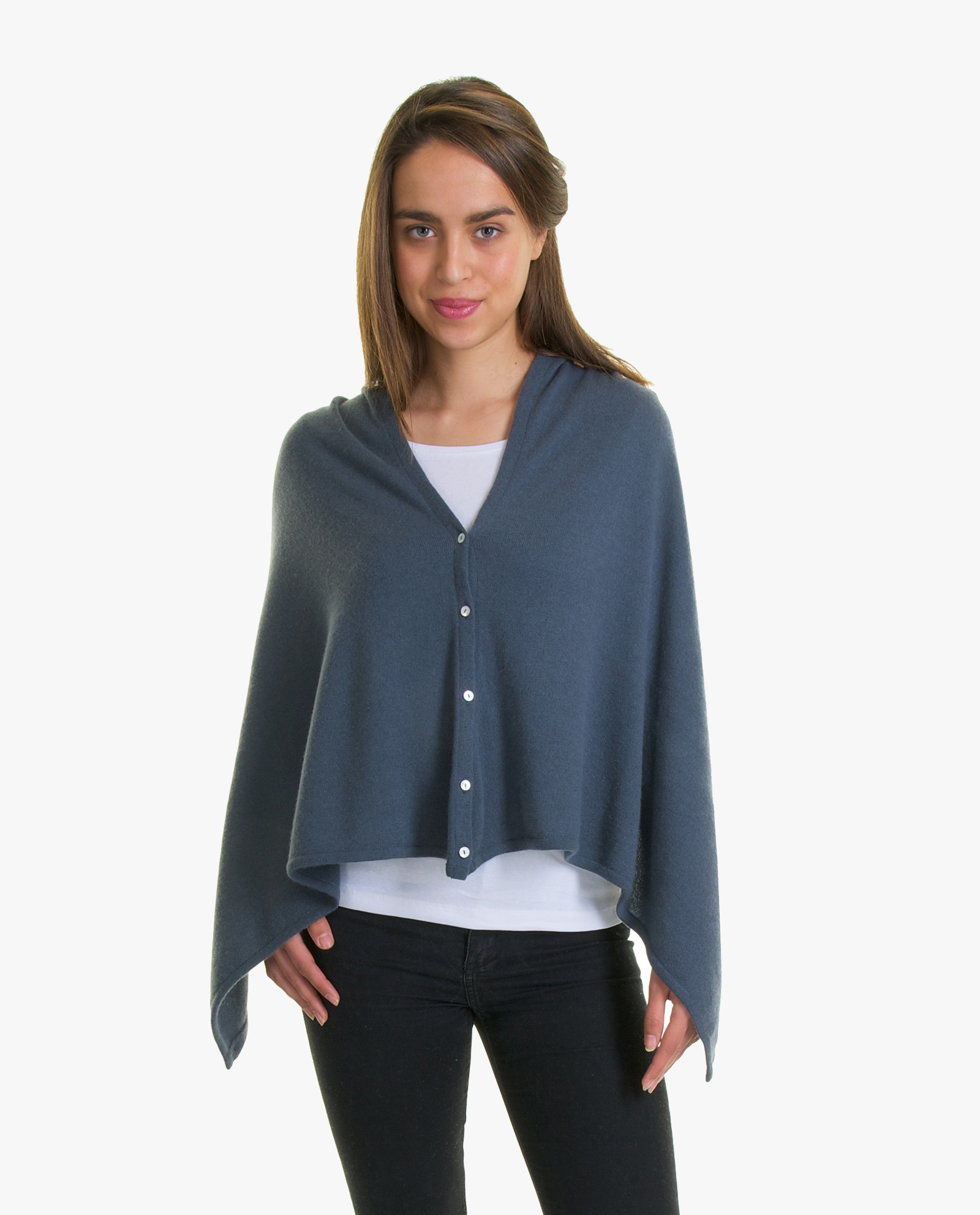 Cashmere Buttoned Poncho Wrap | Fig Cashmere Ltd.